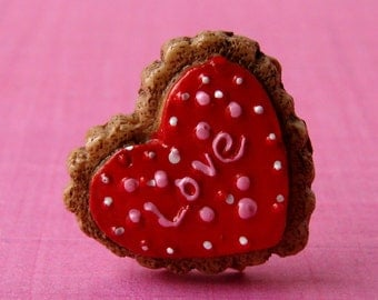 "Miniature Iced Cookie Adjustable Ring - Super Sweet ""Love"" Heart Cookie"