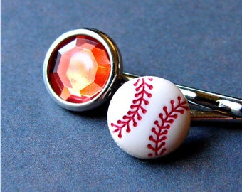 Sporty Miniature Baseball and Ruby Red Gem Ball Field Belle Bobby Pin Pair