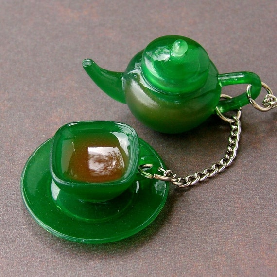 Miniature Green Teapot and Teacup Necklace - Tea for Me