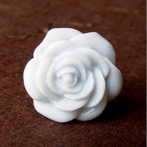 Pale Blue Rose Adjustable Ring - Baby Blue Rose Bloom