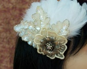 """Bridal Fascinator Vintage Look Ivory Champagne and Silver Beaded Flower and Leaves - """"Borealis"""""""