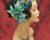 """Art Nouveau Crown, Headband, Tiara, Headdress, or Wreath in Teal and Gold - """"Lillith"""""""