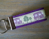 SALE Camper Key Chain 5 inches long in Purple and Greens