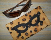 SALE Eye Glass Case Animal Print for Eye Glasses or Sunglasses Embellished with Swarovski Crystals