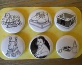 Baby-Decorative PUSH PINS or MAGNETS In Hinged Embellished Tin For Baby Boy or Girl