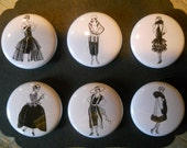 Fashionable Ladies -Decorative  MAGNETS  in Hinged Embellished Tin