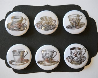Victorian Tea Cups-Decorative MAGNETS in Hinged Embellished Tin