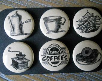 Coffee Break-Decorative PUSH PINS-set of Six (6)