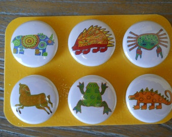 Colorful Critters-Decorative MAGNETS-set of Six (6)