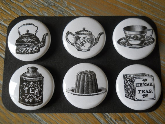 Tea Time-Decorative PUSH PINS in Hinged Labeled Tin