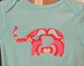 Evie the elephant appliqued onesie 0-3 month size