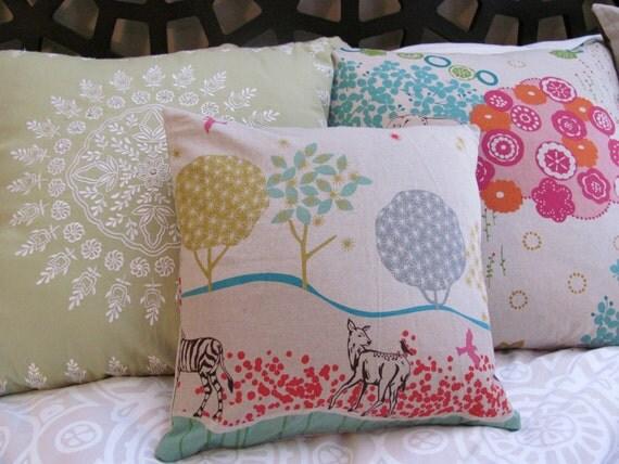 "Animal border japanese import linen/cotton blend pillow cover - 14x14"""