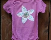 SALE Flower Power- Pink Onesie- Patchwork Flower- 18 months