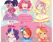 Friendship is Magic Pony Party mini poster print 8x12