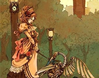 Autumn Stroll 8x10 steampunk victoriana art print