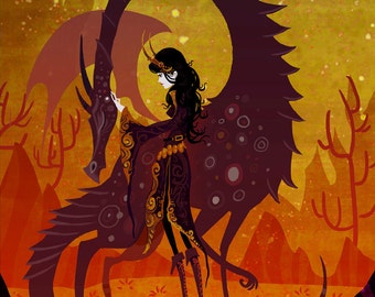 The Sorceress and the Dragon 8x10 art print