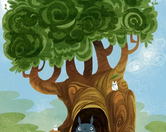 Nearby a Totoro homage poster print 8x12 mini poster