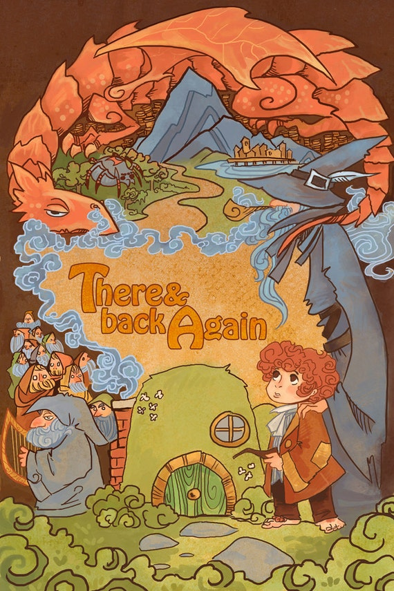 There and Back Again fantasy lit 8x12 print