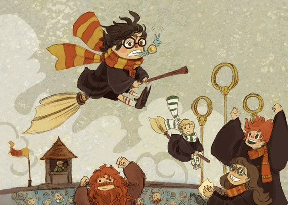 Harry Catches the Snitch illustration print