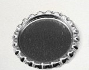 50 Flattened Chrome Bottlecaps Bottle Cap Flat Bottlecap Caps Smashed Silver Blank Embellishment Craft