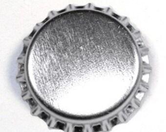 100 Chrome Bottlecaps Bottle Cap Bottlecap Caps Silver Embellishment Craft Brand New