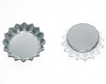 50 Mini Chrome Bottle Caps Small .5 inch Baby Bottlecaps Cap Silver colored