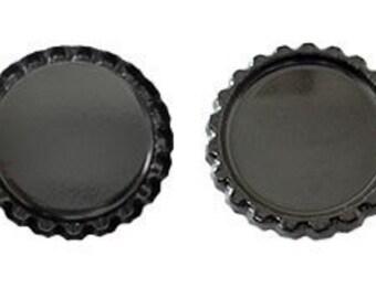 50 Flattened Black ON BOTH SIDES Bottlecaps Bottle Cap Flat Bottlecap Caps Smashed Silver Blank Embellishment Craft