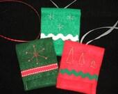 Christmas gift card/tag sleeve-set of 3-christmas trees and snowflakes