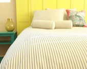 Ticking Stripe Duvet Cover Navy, Black, Grey IN STOCK brown made to order twin full queen king cal king xl twin