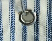 Nautical Ticking Stripe Grommeted Shower Curtain 72x72 Grey, Brown, Navy, Black, Red Ticking Stripe Fabric