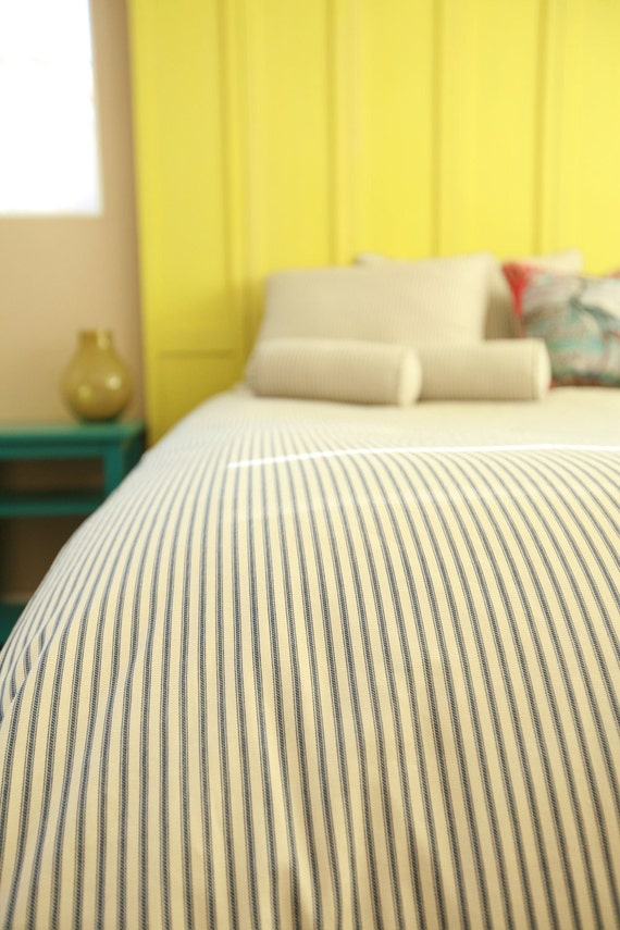 Apple Green Ticking Stripe Duvet Cover Twin Made To Order