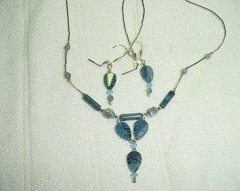 Lapis earring and necklace set