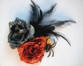 Halloween Double Glitter Rose Hair Flowers w\/Spider