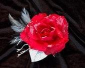 Large Winterland Snow Rose Hair Flower