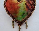 HEART PIN-Unakite Gemstones and Seed Beads on Batik Fabric -Take order by request for similar heart.