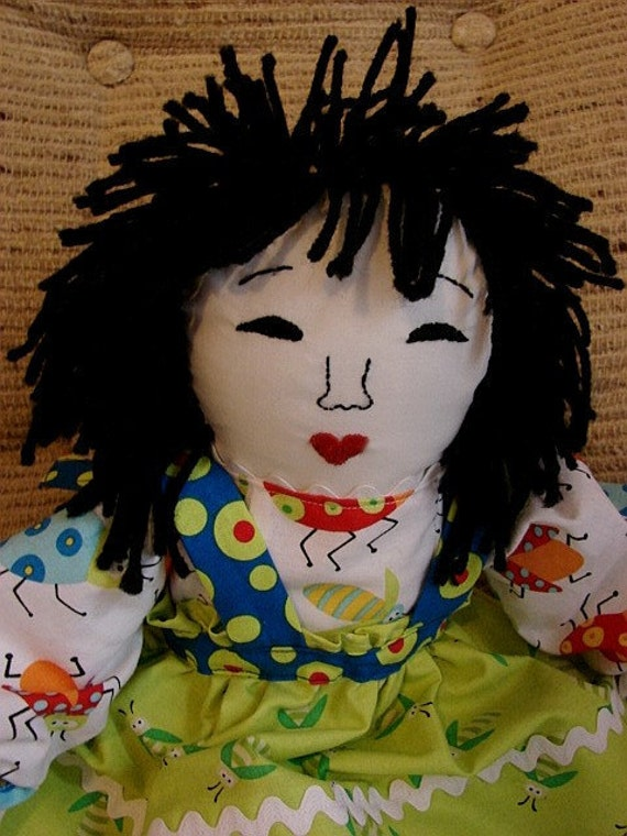 Rag Doll-Little Asian Rag Doll Made from Quilt Fabrics (Similar Doll Made by Request)
