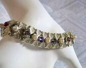 Stunning 50s CORO Hearts, Pearl and Red Aurora Borealis Rhinestone Bracelet