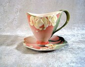Franz Porcelain Winter Moth Orchid Teacup and saucer