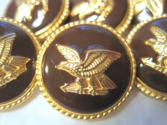 Great set of 6 1976 Metal Bicentennial Gold American Eagle With Brown Background