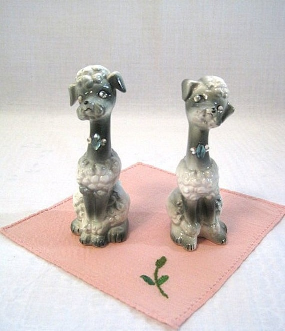 Cutest Poodle Salt and Pepper Shakers Gray with Rhinestone Accents