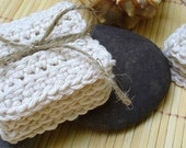 Set of 4 Cotton Face Scrubbie Cloths - Makeup Removers - Exfoliant - Natural color - FREE Shipping