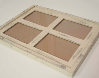 "MULTI 4 Opening 5x7 ""WINDOW style"" distressed rustic pine collage picture frame ... sand....HANDMADE"