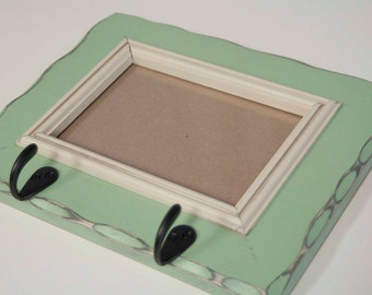 5x7 pine rustic distressed picture frame with key hooks and inner trim....HANDMADE...pistachio and almond