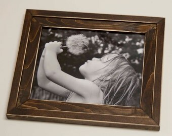 1) 8x10 Stacked pine distressed rustic picture frame...stained dark walnut...HANDMADE