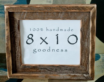 1) 8x10 Stacked reclaimed Barn wood distressed rustic picture frame upcycled weathered barnwood