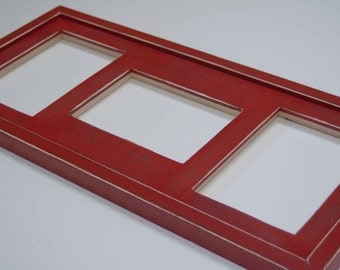 MULTI 3 Opening 5x7 distressed collage picture frame with 2) 5x7's in portrait & 1) 5x7 in landscape position...red....HANDMADE
