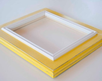 Elegant 8x10 distressed rustic picture frame with handmade trim...bright yellow with white trim...HANDMADE