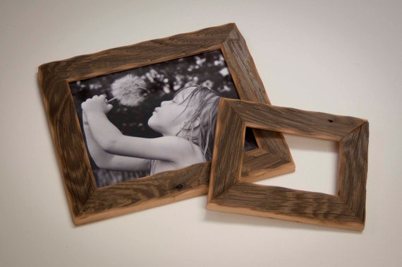 picture frames - 1) 8x10 & 1) 4x6 Reclaimed Barn wood distressed rustic picture frames upcycled weathered barnwood