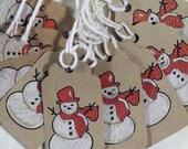 Snowman, Snowman Tags, Snowman Gift Tag, Primitive Snowman Tags, with Original Hand Colored Art Prints