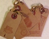 15 Primitive Rustic Travel Tags with Travel Theme and Hand Stamped Words...